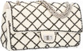 """Luxury Accessories:Bags, Chanel White & Black Sequin Reissue Medium Double Flap Bag withSilver Hardware. Very Good to Excellent Condition.10""""..."""