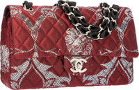 Chanel Limited Edition Paris-Moscow Red & Silver Brocade Medium Double Flap Bag with Matte Silver Hardware Exce