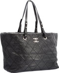 "Luxury Accessories:Bags, Chanel Black Quilted Distressed Leather Shopping Tote Bag withSilver Hardware. Excellent Condition. 14"" Width x 10""H..."