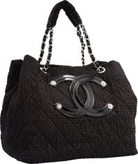 "Chanel Black Marbled Nylon Tote Bag with Silver Hardware Excellent to Pristine Condition 13"" Widt"