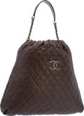 "Luxury Accessories:Bags, Chanel Brown Quilted Caviar Leather Hobo Bag with GunmetalHardware. Excellent to Pristine Condition. 17"" Width x15"" ..."