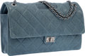 Luxury Accessories:Bags, Chanel Blue Quilted Distressed Lambskin Leather Takeaway Bag withGunmetal Hardware. Excellent to Pristine Condition....