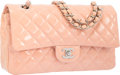 "Luxury Accessories:Bags, Chanel Pink Quilted Patent Leather Medium Double Flap Bag withSilver Hardware. Excellent to Pristine Condition. 10""W..."