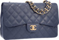 Luxury Accessories:Bags, Chanel Navy Blue Quilted Caviar Leather Jumbo Single Flap Bag withGold Hardware. Very Good to Excellent Condition.12...