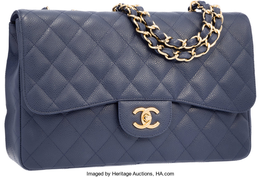 a346dfef49e7 ... Luxury Accessories:Bags, Chanel Navy Blue Quilted Caviar Leather Jumbo  Single Flap Bag withGold ...