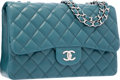 "Luxury Accessories:Bags, Chanel Teal Quilted Lambskin Leather Jumbo Single Flap Bag withSilver Hardware. Excellent to Pristine Condition. 12""..."