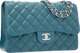 "Chanel Teal Quilted Lambskin Leather Jumbo Single Flap Bag with Silver Hardware Excellent to Pristine Condition 12""..."