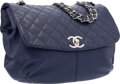 """Luxury Accessories:Bags, Chanel Blue Quilted Lambskin Leather Half Moon Flap Bag with SilverHardware. Excellent Condition. 14"""" Width x 11"""" Hei..."""
