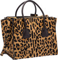"""Luxury Accessories:Bags, Prada Moro Miele Brown Leopard Cavallino Ponyhair Tote Bag withGold Hardware. Excellent Condition. 12"""" Width x 10""""He..."""