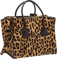 Prada Moro Miele Brown Leopard Cavallino Ponyhair Tote Bag with Gold Hardware Excellent Condition