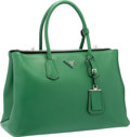 "Luxury Accessories:Bags, Prada Verde Green Saffiano Leather Tote Bag with Silver Hardware.Excellent Condition. 15"" Width x 10"" Height x 7""Dep..."