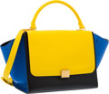 "Luxury Accessories:Bags, Celine Yellow, Black & Blue Leather Trapeze Bag . ExcellentCondition. 13"" Width x 10"" Height x 7"" Depth. ..."