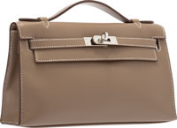 Hermes Etoupe Swift Leather Kelly Pochette Bag with Palladium Hardware Excellent to Pristine Condition<