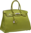 "Luxury Accessories:Bags, Hermes 35cm Vert Anis Togo Leather Birkin Bag with PalladiumHardware. Very Good Condition. 14"" Width x 10"" Height x7..."