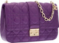 "Luxury Accessories:Bags, Christian Dior Purple Cannage Leather Miss Dior Bag with GoldHardware. Excellent Condition. 10"" Width x 7"" Height x 2.5""..."