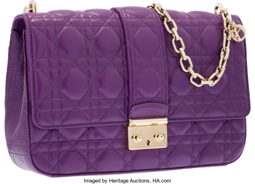 ec522f5f4d Luxury Accessories:Bags, Christian Dior Purple Cannage Leather Miss Dior Bag  with GoldHardware.