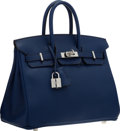 "Luxury Accessories:Bags, Hermes 25cm Blue Saphir Swift Leather Birkin Bag with PalladiumHardware. Excellent to Pristine Condition. 9.5"" Width..."