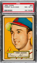Baseball Cards:Singles (1950-1959), 1952 Topps Tommy Glaviano (Red Back) #56 PSA NM-MT 8 - None Higher....