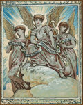 Fine Art - Painting, American:Antique  (Pre 1900), Elihu Vedder (American, 1836-1923). Peace on Earth, Good Will toMan, Christmas card design, circa 1882. Watercolor on b...