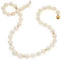Estate Jewelry:Pearls, Freshwater Cultured Pearl, Gold Necklace. ...