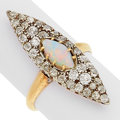 Estate Jewelry:Rings, Antique Opal, Diamond, Silver-Topped Gold Ring. ...
