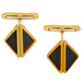 Estate Jewelry:Cufflinks, Black Onyx, Gold Cuff Links. ...
