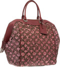 """Luxury Accessories:Bags, Louis Vuitton Red Leather & Wool Monogram Sunshine Express Bag.Good to Very Good Condition. 11"""" Width x 14"""" Height x..."""