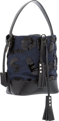 Louis Vuitton Limited Edition Navy Blue Satin & Black Leather NN14 Spotlight Bag by Marc Jacobs Excellent to Pr