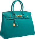 "Luxury Accessories:Bags, Hermes 35cm Blue Paon Epsom Leather Birkin Bag with Gold Hardware.Very Good Condition. 14"" Width x 10"" Height x 7""De..."