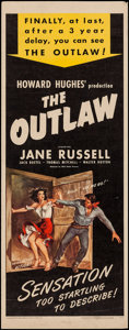 """Movie Posters:Western, The Outlaw (United Artists, R-1950). Insert (14"""" X 36""""). Western.. ..."""