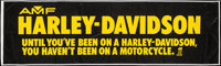 """AMF Harley-Davidson Lot (Late 1960s-1970s). Outdoor Banner (35"""" X 119""""), Slogan Banners (3) (17"""" X 41&quo..."""