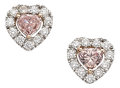 Estate Jewelry:Earrings, Colored Diamond, Diamond, Platinum, Gold Earrings. ...