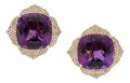 Estate Jewelry:Earrings, Amethyst, Colored Diamond, Pink Gold Earrings, Piranesi. ...