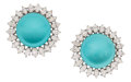 Estate Jewelry:Earrings, Diamond, Turquoise, Platinum, White Gold Earrings. ...