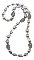 Estate Jewelry:Necklaces, Dyed Freshwater Cultured Pearl, Colored Diamond, Moonstone, SilverNecklace. ...