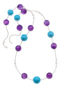 Estate Jewelry:Necklaces, Turquoise, Amethyst, Diamond, White Gold Necklace. ...