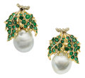 Estate Jewelry:Earrings, South Sea Cultured Pearl, Emerald, Gold Earrings, Buccellati. ...