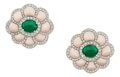 Estate Jewelry:Earrings, Emerald, Coral, Diamond, White Gold Earrings. ...