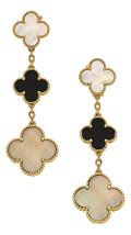 Estate Jewelry:Earrings, Mother-of-Pearl, Black Onyx, Gold Earrings, Van Cleef & Arpels. ...