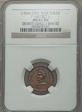 Civil War Tokens, (1864) Civil War Token, Dewitt-GMCC-1864-32, F-141/307 a, MS63Brown NGC....