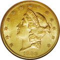 Liberty Double Eagles: , 1859-S $20 AU58 NGC. A mostly lustrous olive-gold double eagle.Lightly abraded for the grade aside from a few wispy horizo...