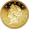 Proof Liberty Double Eagles: , 1881 $20 PR66 Ultra Cameo NGC. in 1881, the Philadelphia Mint produced both business strikes and proofs, all in very limite...