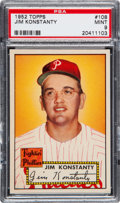Baseball Cards:Singles (1950-1959), 1952 Topps Jim Konstanty #108 PSA Mint 9 - None Higher!...