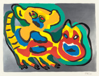 Karel Appel (Dutch, 1921-2006) Untitled and Animaux (two works), 1974 Lithogra