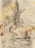 Fine Art - Work on Paper:Print, Salvador Dalí (Spanish, 1904-1989). Monument to the IdealDoctor, 1973. Lithograph in colors on paper. 29-1/2 x 21-3/4i...
