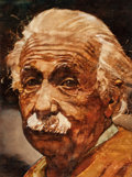 Fine Art - Painting, American:Contemporary   (1950 to present)  , C. Michael Dudash (American, b. 1952). Albert Einstein,1976. Oil on canvasboard. 21 x 16 inches (53.3 x 40.6 cm). Signe...