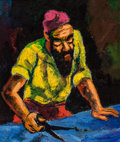 Fine Art - Painting, American:Modern  (1900 1949)  , Abram Tromka (American/Polish, 1896-1954). The Tailor. Oilon masonite. 16-1/4 x 13-1/4 inches (41.3 x 33.7 cm). Signed ...