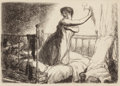 Prints, John French Sloan (American, 1871-1951). Turning out the Light. Etching on paper. 4-1/2 x 6-3/4 inches (11.4 x 17.1 cm) ...