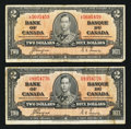 Canadian Currency: , BC-22c $2 1937, Two Examples. ... (Total: 2 notes)