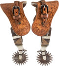 Western Expansion:Cowboy, Crockett Single-Mounted Spurs with Inside Mark....